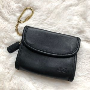 Vintage Coach Black Leather Key Chain Wallet